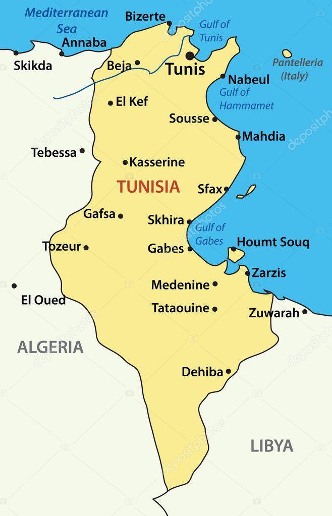 Vector Illustration Map Of Tunisia Stock Vector C Pavalena