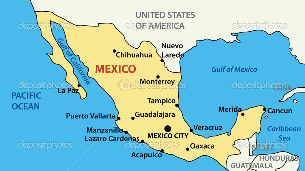 Vector Illustration Map Of United Mexican States Stock Vector