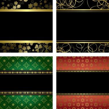 Set - vector black card with golden frames