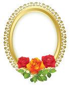 Ovális arany keretben rózsák - vektor