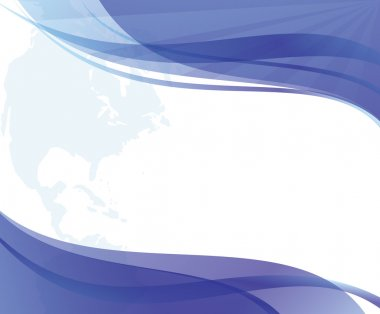 Abstract wavy blue and white background with continent - eps 10