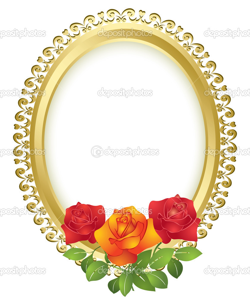 Oval golden frame with roses - vector