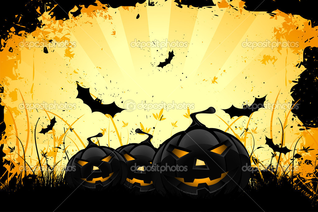 grungy halloween background with pumpkins and bats stock vector
