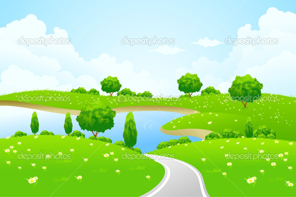 Green Landscape with lake tree road and flowers