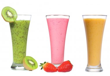 Different smoothie with fruits and berries