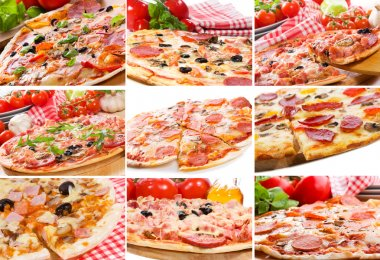 Collage with pizza