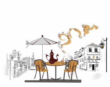 Series of street cafes in the old town
