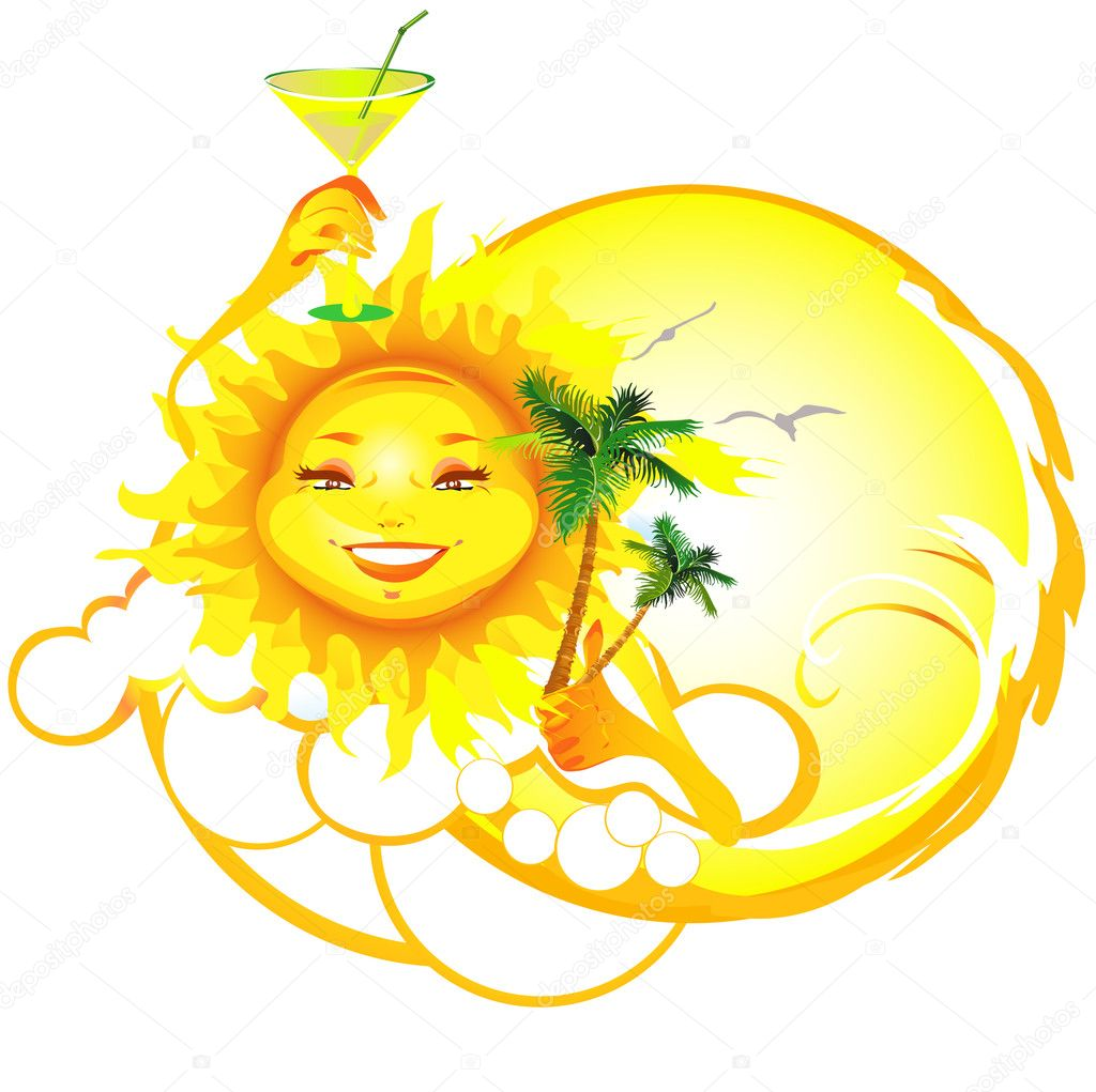 Cartoon Sun inviting to have relax