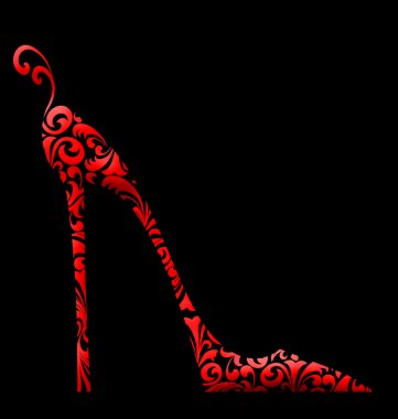 Chic Damask High Heeled Shoe red on black