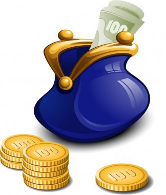 Blue purse with money