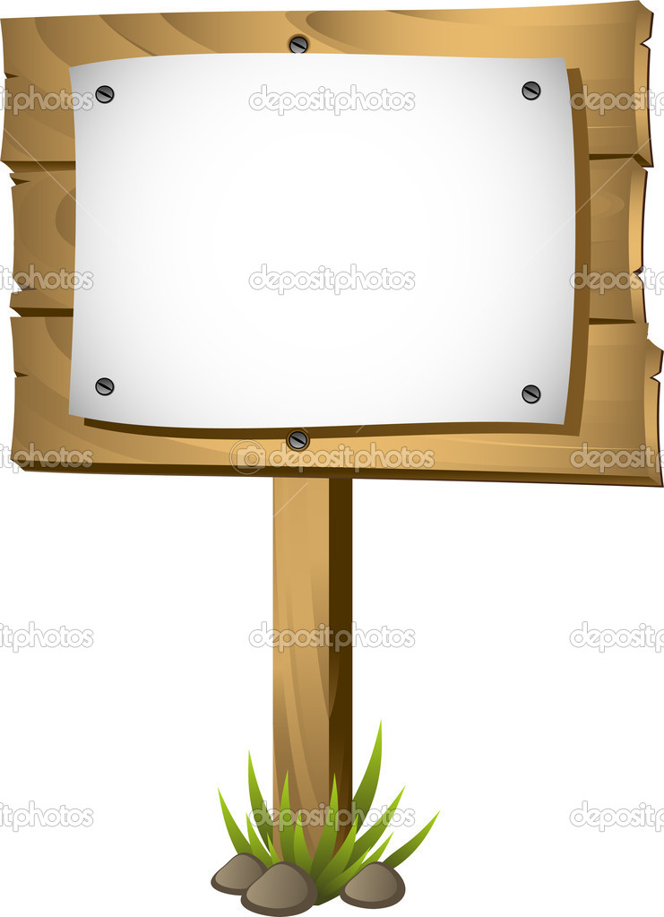 wooden signboard with a blank paper � stock vector