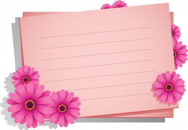 Pink flowers with a card for your text