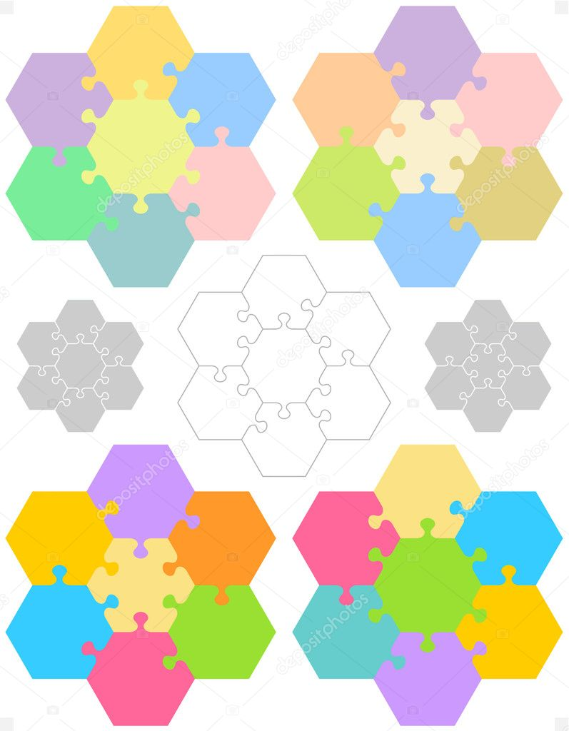 Hexagonal jigsaw puzzles stock vector ratselmeister 5458705 hexagonal jigsaw puzzle blank templates for conceptual educational and gaming projects vector by ratselmeister pronofoot35fo Choice Image