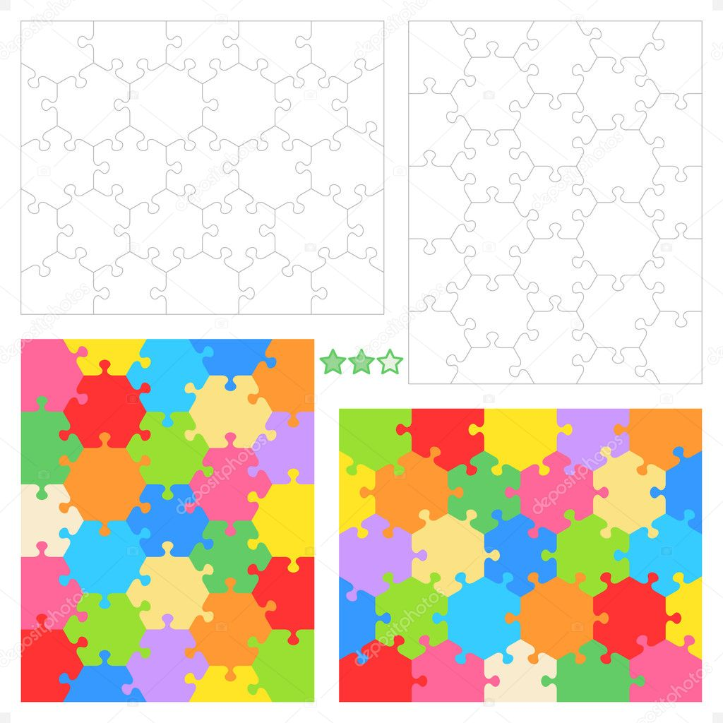 Hexagonal puzzle templates and patterns — Stock Vector ...
