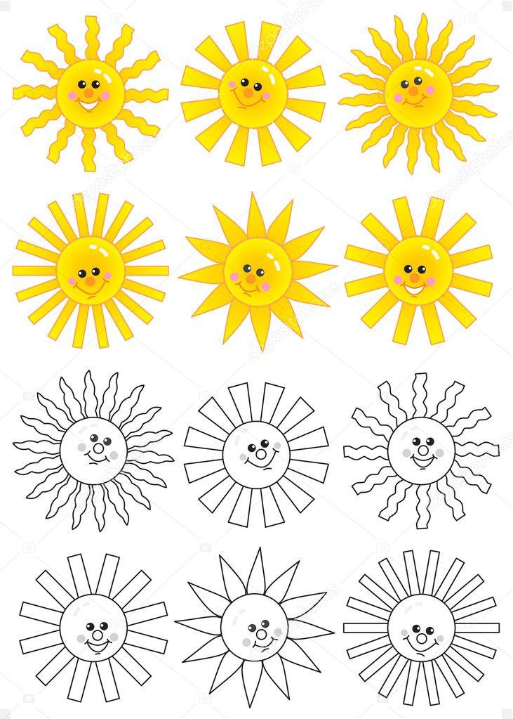 Set of smiling cartoon suns