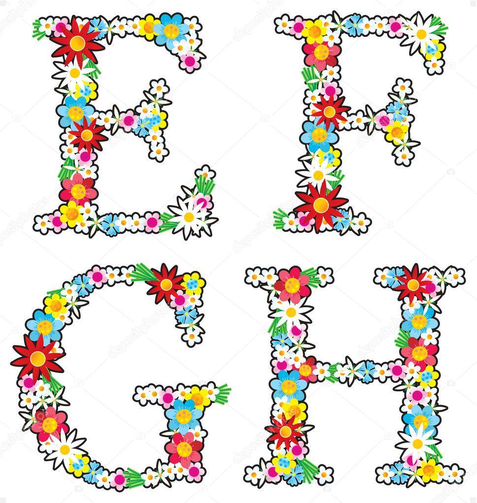 Floral alphabet set, letters E - H