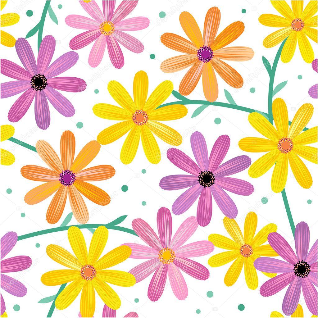 Seamless gerbera daisy flowers pattern, background