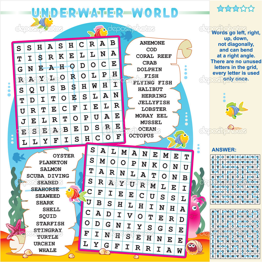Underwater world word search puzzle