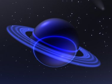An unknown blue planet travels