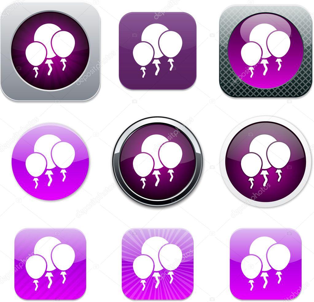 Balloons purple app icons  — Stock Vector © boroboro #6143169