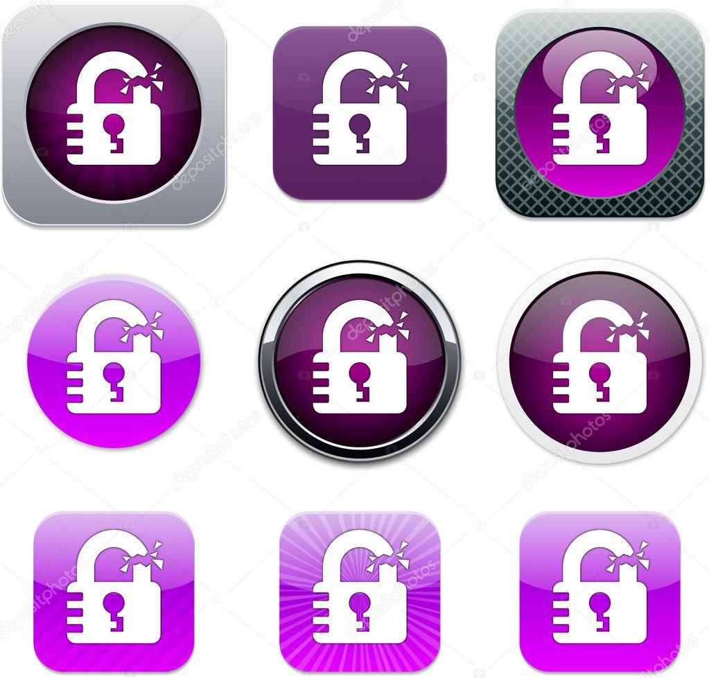 Unlock purple app icons  — Stock Vector © boroboro #6143208