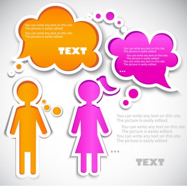 Male talking with female. Paper bubbles for speech clip art vector