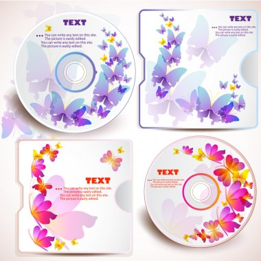 Cover design template of disk. Butterfly design