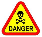 Warnschild mit Totenkopf-Symbol isoliert auf weiss