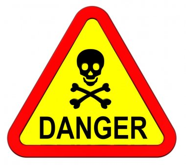 Warning sign with skull symbol isolated on white.