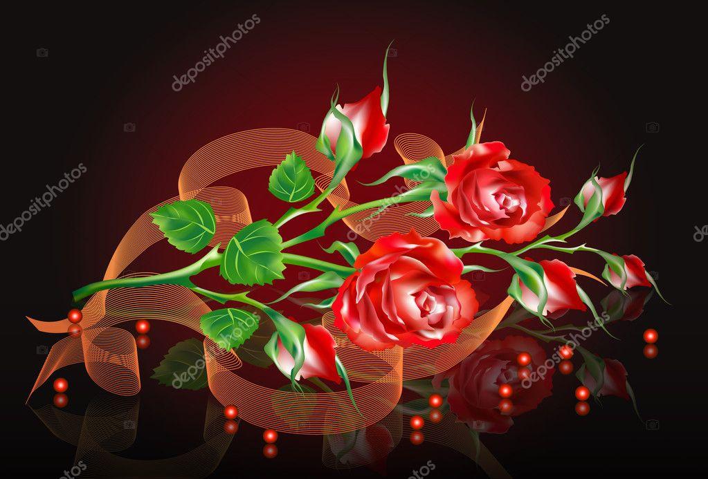 Disegno Di Un Bouquet Di Rose E Boccioli Vettoriali Stock Banter