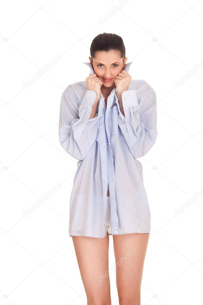 woman in man s shirt porn