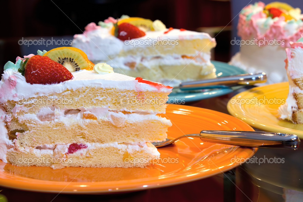 Happy Birthday Cake With Fresh And Canned Fruits Stock Photo