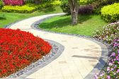 Fotografie schönen Sommergarten mit einem Gehweg windet sich durch