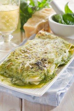 Vegetarian pesto lasagne