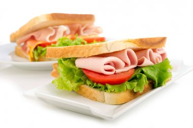 Sandwich with turkey ham and lettuce