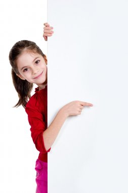 Girl pointing fingher on holding empty board