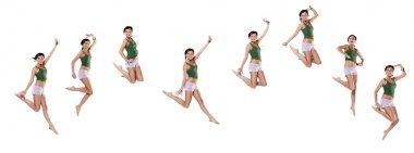 Multiple young emotional woman jumping, isolated on white