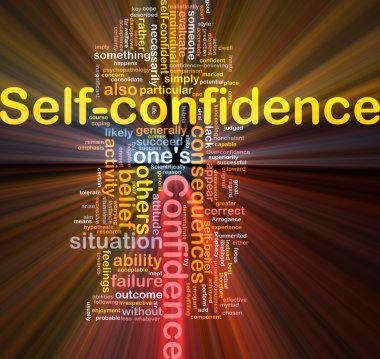 Self-confidence is bone background concept glowing