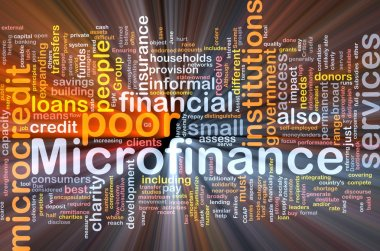 Microfinance background concept glowing