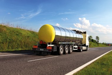 Oil transporting lorry on the road