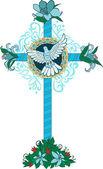 Kříž s květinami a holub