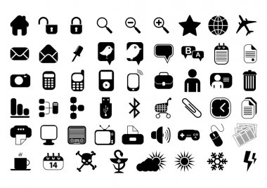 Set of 54 icons for website, computer, business, shopping, science, education and music. Vector illustration. stock vector