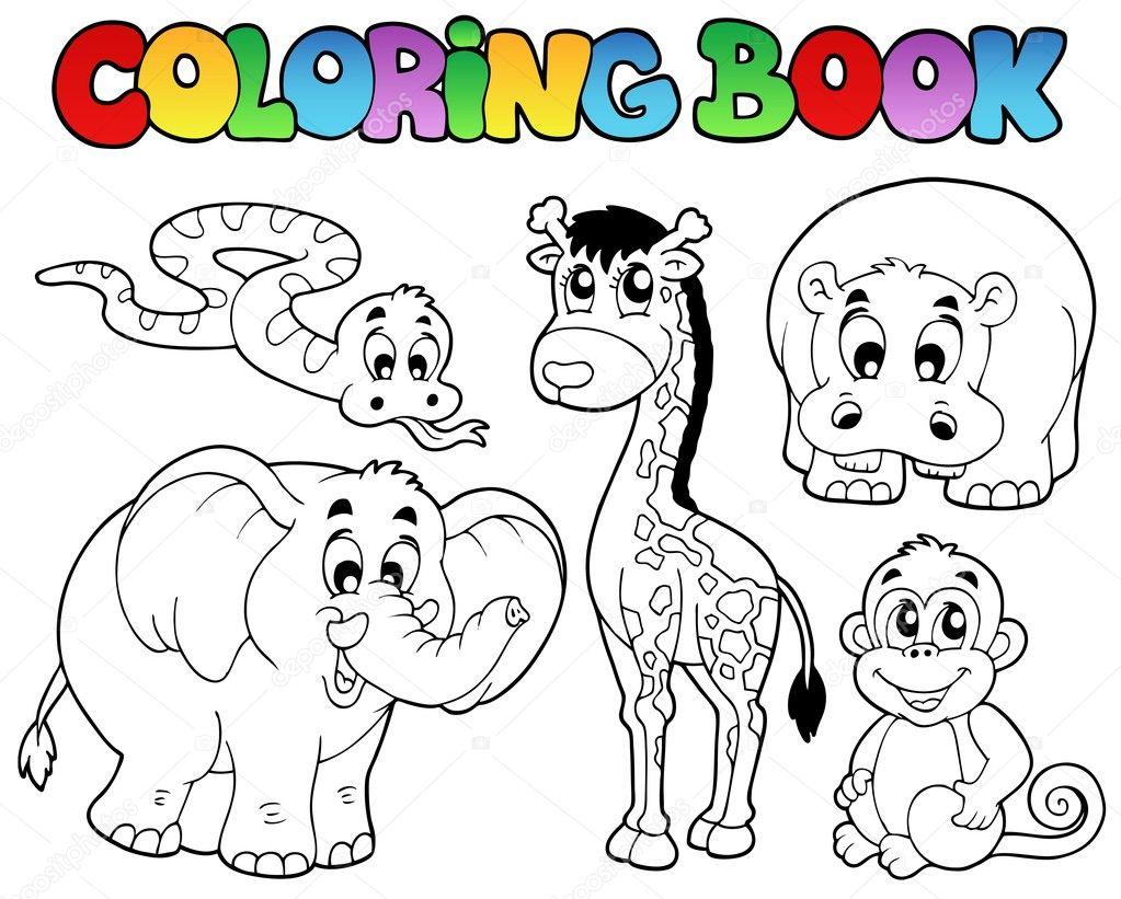 libro para colorear con animales africanos — Archivo Imágenes ...