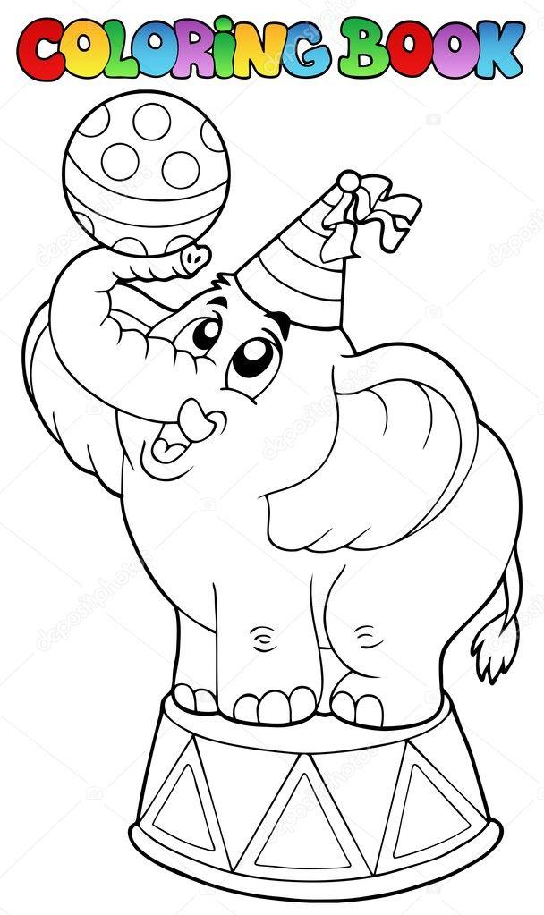 libro de colorear con elefante de circo — Archivo Imágenes ...