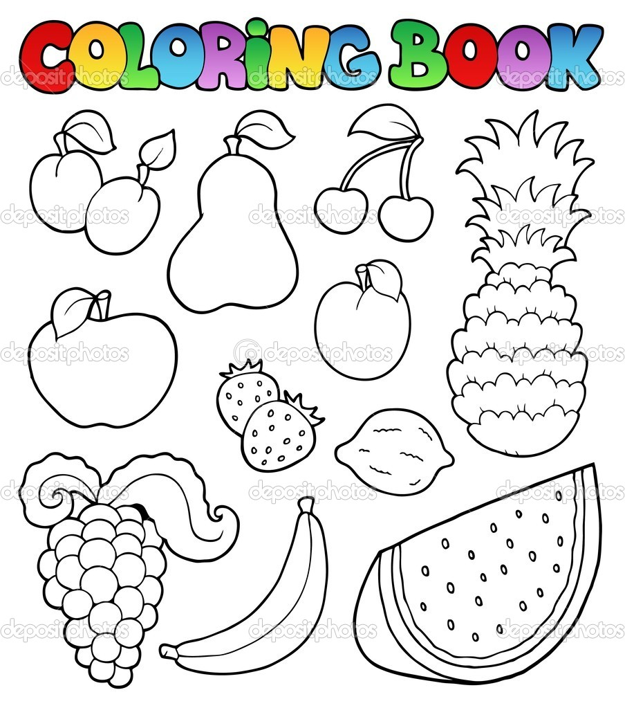 Coloring Book With Fruits Images Stock Vector C Clairev 5423966