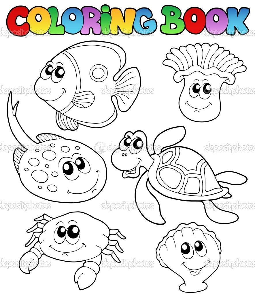 libro para colorear con animales marinos 3 — Vector de stock ...