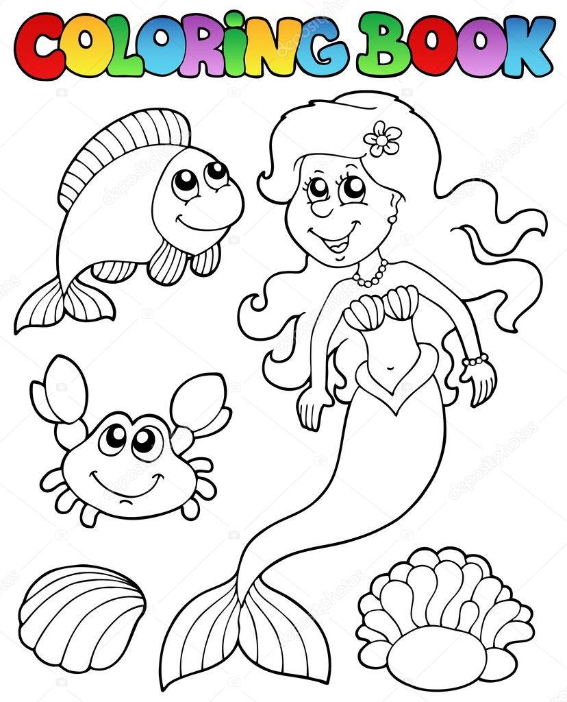 libro de colorear con sirena — Vector de stock © clairev #5515210