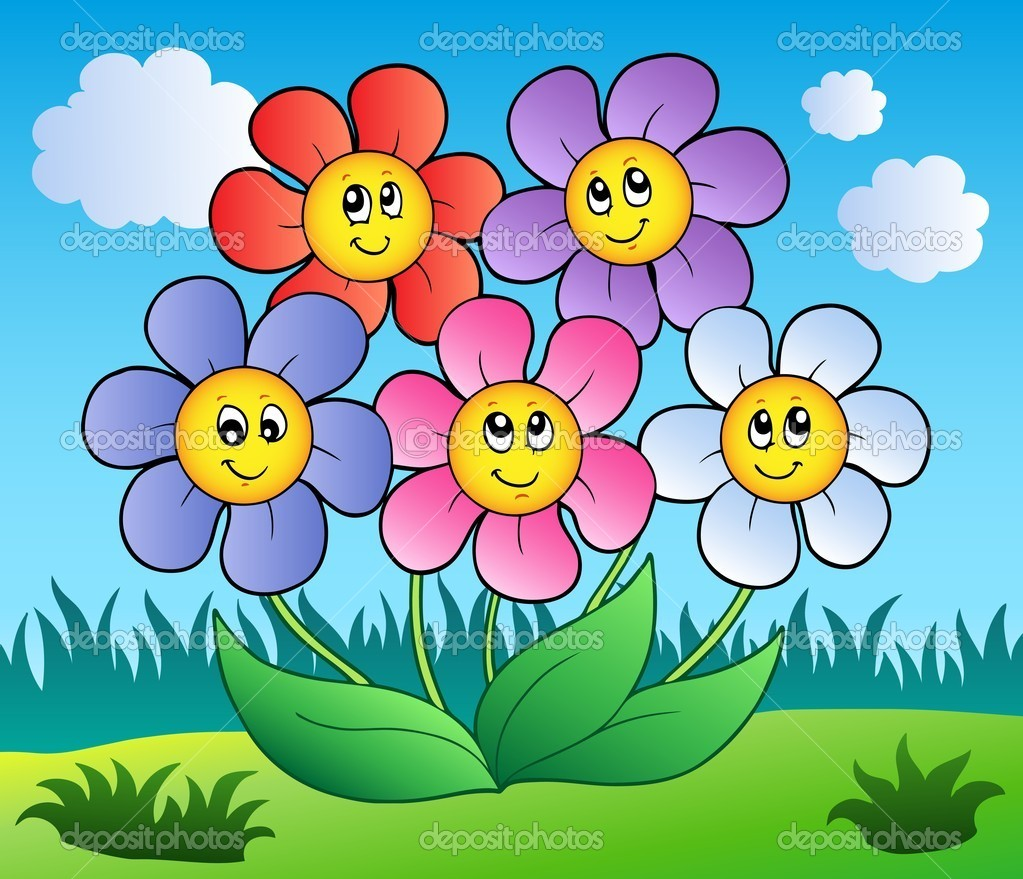 Five Cartoon Flowers On Meadow Vector Image By C Clairev Vector Stock 5595041