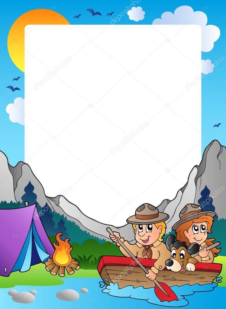 marco de verano con scout tema 4 — Archivo Imágenes Vectoriales ...