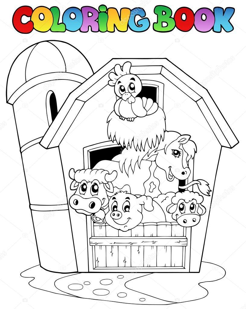 Книжка-раскраска с сарай и животных — Векторное ...